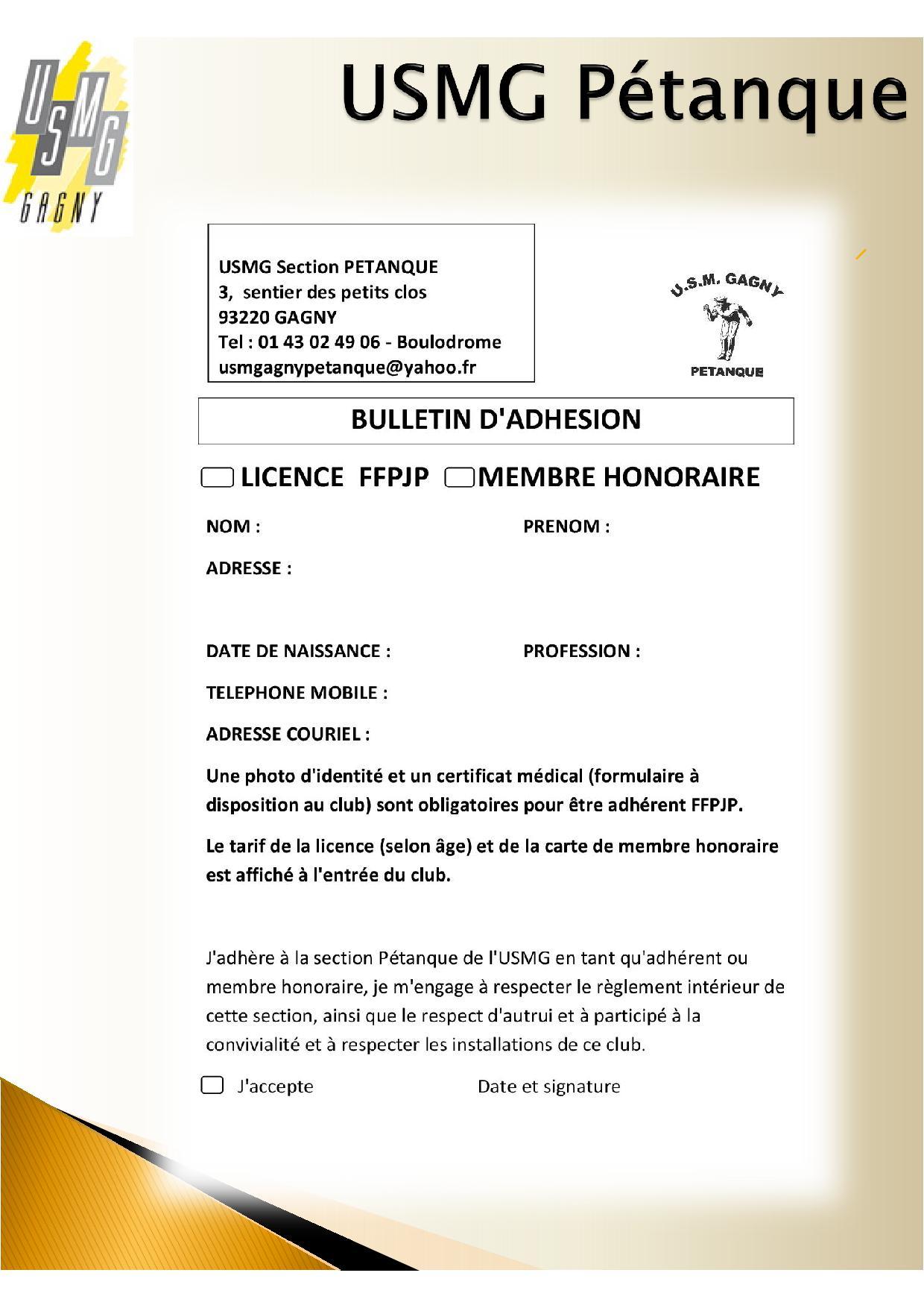 Bulletin d inscription petanque