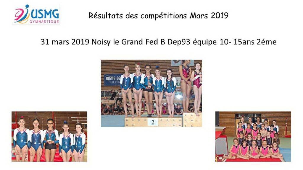 Gym resultats compet 31 mars 2019