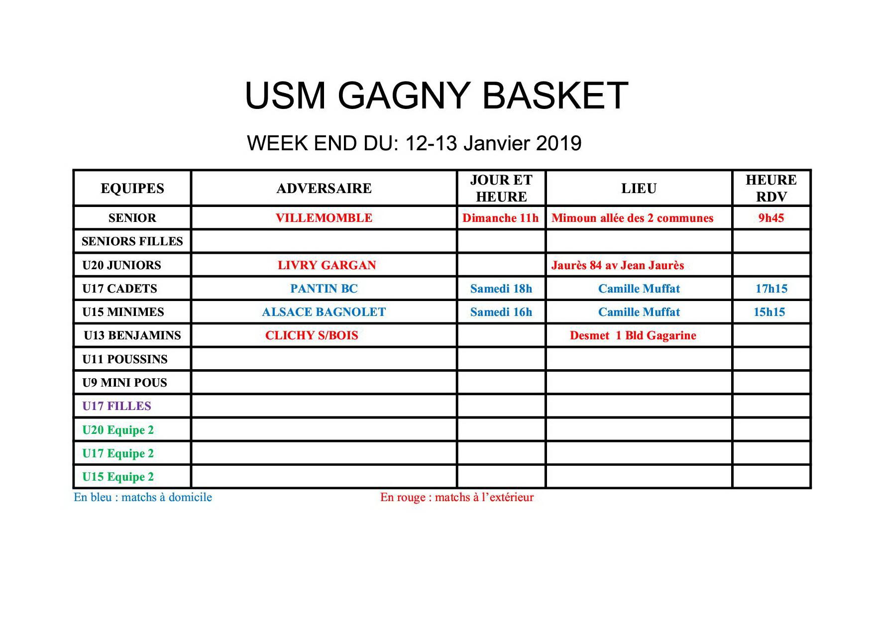 Usmg gagny planning week end 12 13 janvier 2019
