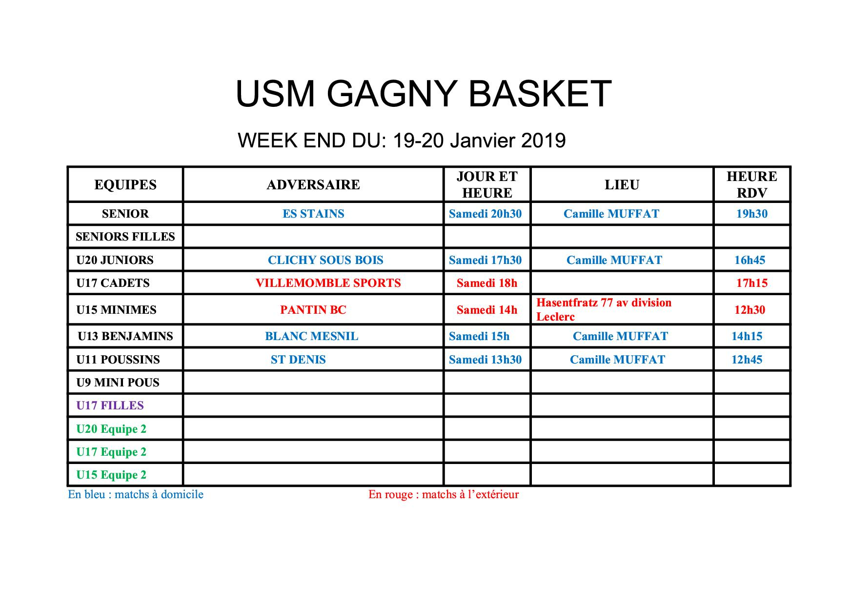 Usmg gagny planning week end 19 20 janvier 2019