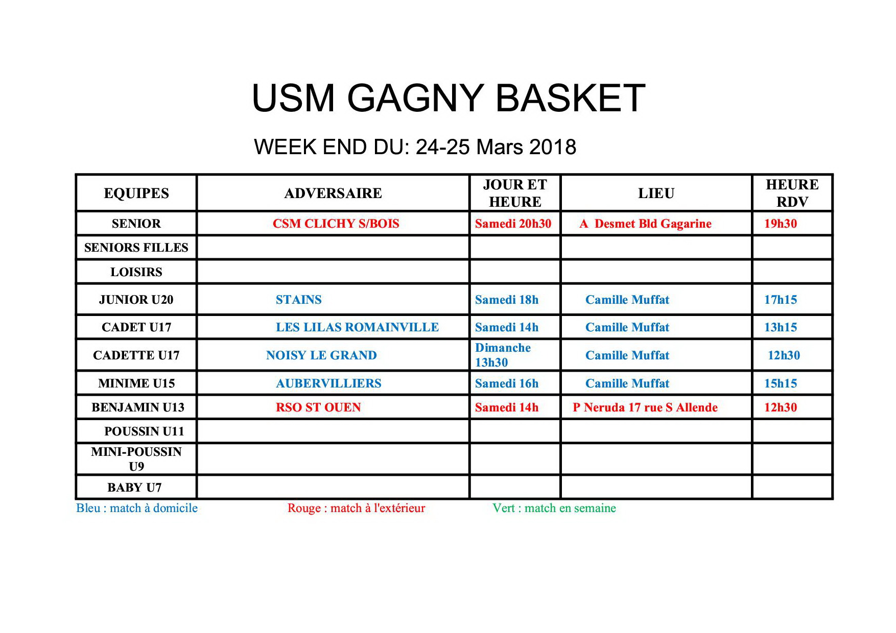 Usmg gagny planning week end 24 25 mars 2018