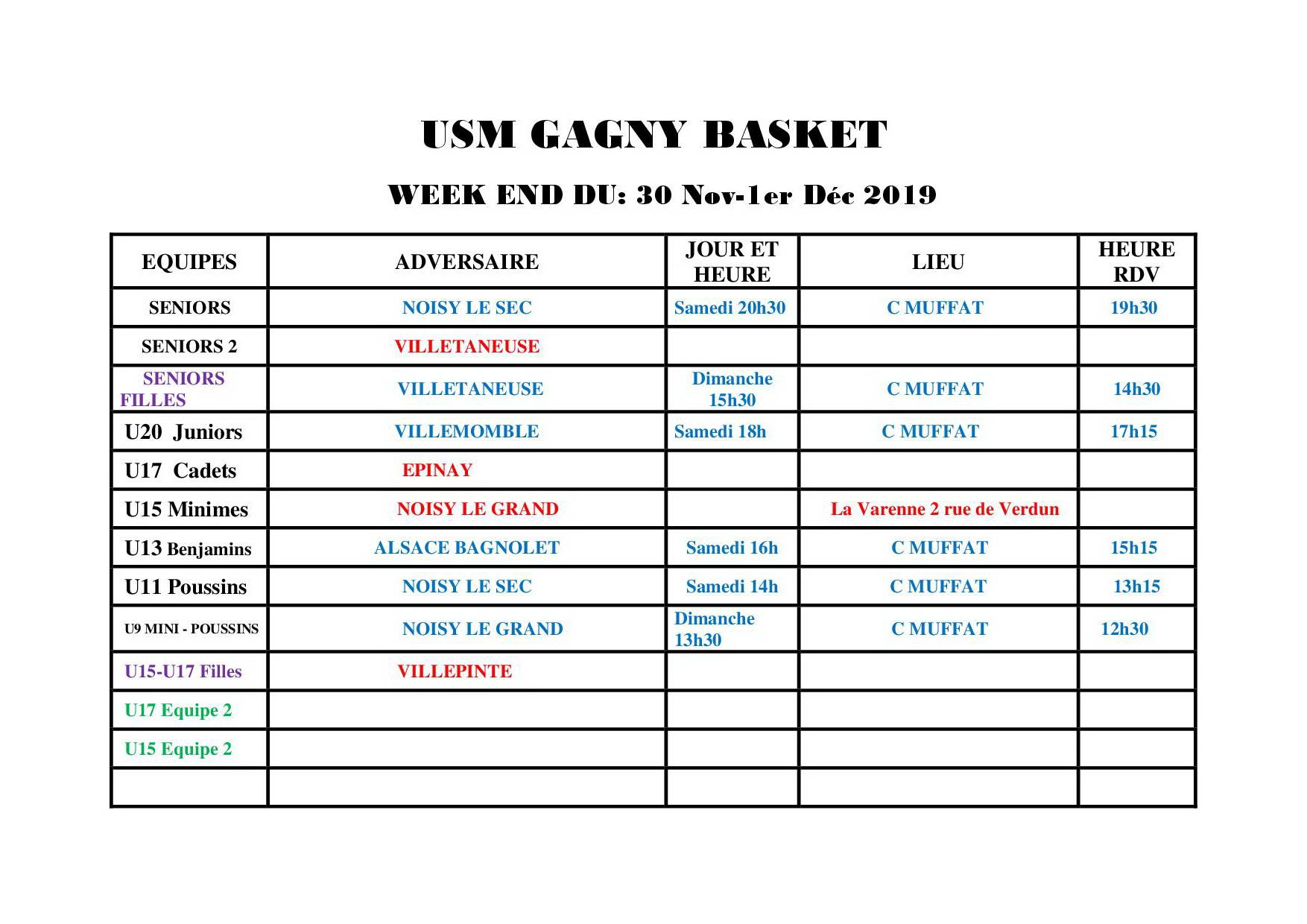 Usmg gagny planning week end 30 nov 1er dec 2019