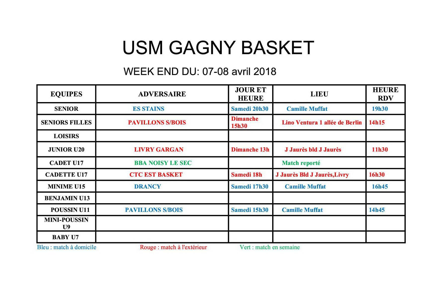 Usmg gagny planning week end 7 8 avril 2018